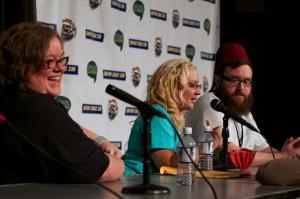 Michelle Talkington (Girls of Geek 12), Clayton Loper (Time Warp Comics) and Heather Maloney Photo: Ken Termin