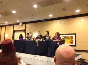 Heather on a panel at Gallifrey One 2013